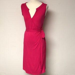 HOT HOT PINK Faux Wrap Dress
